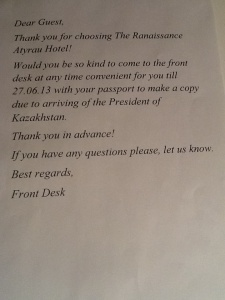 Letter from hotel