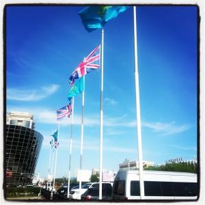 Union Jacks & Kazakh Flag